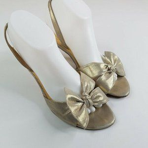 Kate Spade New York Gold Bow Sandals Shoes Size 10